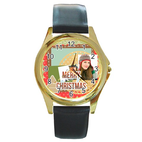 Merry Christmas By Merry Christmas   Round Gold Metal Watch   L6dbvidahqcq   Www Artscow Com Front