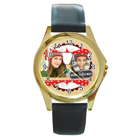 Merry Christmas By Merry Christmas   Round Gold Metal Watch   Swqtev3ny9ho   Www Artscow Com Front