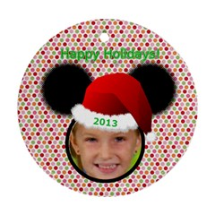 Minnie Mouse Ornament, 2 Sides By Joy Johns   Round Ornament (two Sides)   Vk3th5dia8mv   Www Artscow Com Front