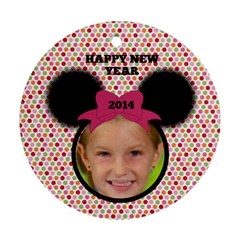 Minnie Mouse Ornament, 2 Sides By Joy Johns   Round Ornament (two Sides)   Vk3th5dia8mv   Www Artscow Com Back