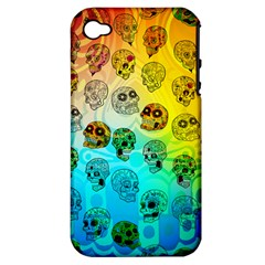 Sugary Skulls Apple iPhone 4/4S Hardshell Case (PC+Silicone) by TheTalkingDead