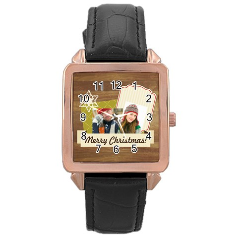 Merry Christmas By Merry Christmas   Rose Gold Leather Watch    4hzkkapptvhj   Www Artscow Com Front
