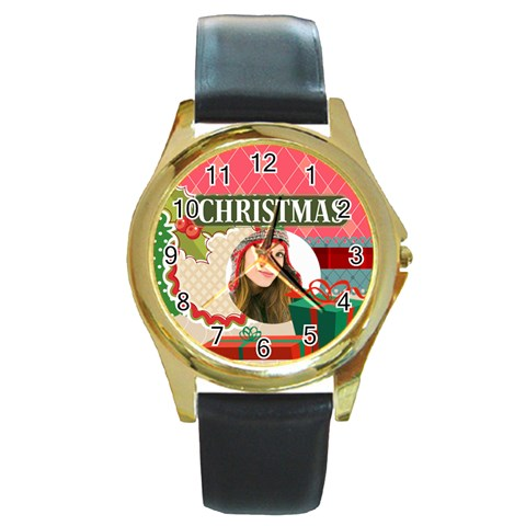 Merry Christmas By Merry Christmas   Round Gold Metal Watch   X5zd4603avni   Www Artscow Com Front
