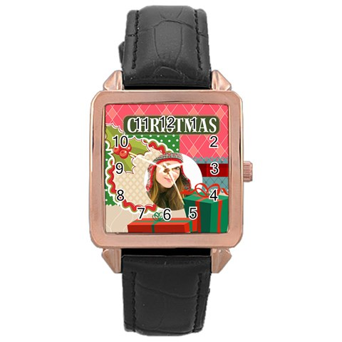 Merry Christmas By Merry Christmas   Rose Gold Leather Watch    A2lq106l963u   Www Artscow Com Front