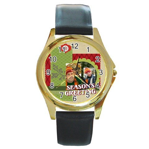 Merry Christmas By Merry Christmas   Round Gold Metal Watch   Adqpw8sxg8xp   Www Artscow Com Front