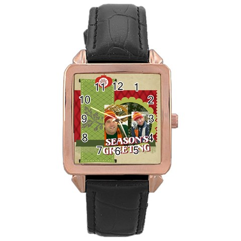 Merry Christmas By Merry Christmas   Rose Gold Leather Watch    Xrlsliv0eas9   Www Artscow Com Front