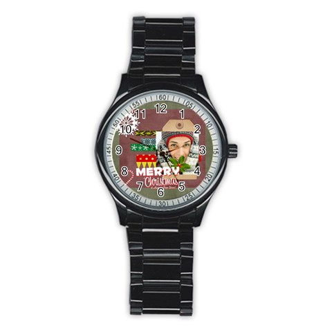 Merry Christmas By Merry Christmas   Stainless Steel Round Watch   X865d1fcoj9m   Www Artscow Com Front