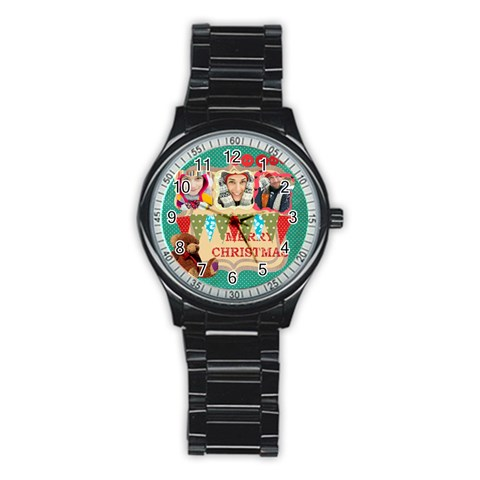 Merry Christmas By Merry Christmas   Stainless Steel Round Watch   U086npe62uxa   Www Artscow Com Front