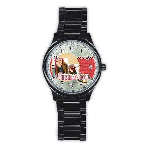 Merry Christmas By Merry Christmas   Stainless Steel Round Watch   1yu1eeuizmjx   Www Artscow Com Front