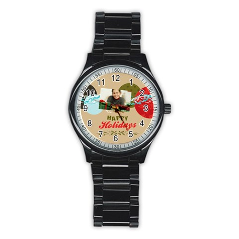 Merry Christmas By Merry Christmas   Stainless Steel Round Watch   Ndsz37qt9i5l   Www Artscow Com Front