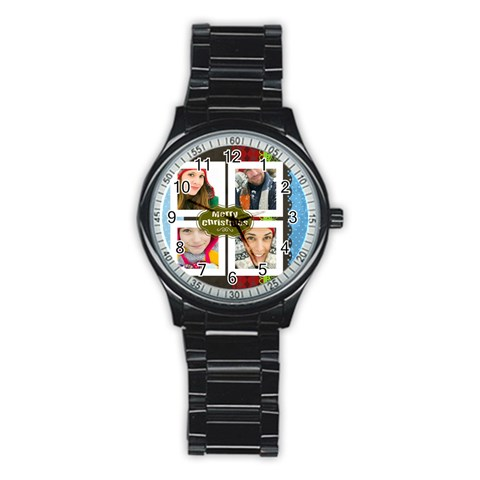 Merry Christmas By Merry Christmas   Stainless Steel Round Watch   6k07vkmzz8ps   Www Artscow Com Front