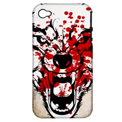 Blood Wolf Apple iPhone 4/4S Hardshell Case (PC+Silicone) by Contest1775858