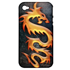 Golden Tribal Dragon Apple Iphone 4/4s Hardshell Case (pc+silicone)
