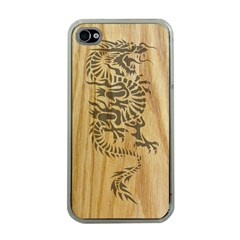 Tribal Dragon On Wood Apple Iphone 4 Case (clear) by Contest1775858