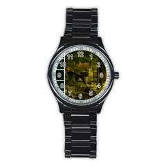 Escala Seattle Yellow Green Collage Sport Metal Watch (black) by stineshop