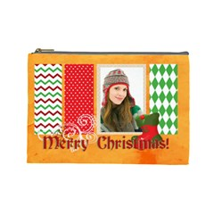 Merry Christmas By Merry Christmas   Cosmetic Bag (large)   Tanh7gv3q1ux   Www Artscow Com Front