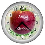 Apple Clock - Wall Clock (Silver)