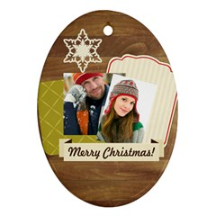 Merry Christmas By Merry Christmas   Oval Ornament (two Sides)   Muenx58667cc   Www Artscow Com Front