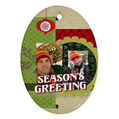 Merry Christmas By Merry Christmas   Oval Ornament (two Sides)   Fmcnfcbcz1is   Www Artscow Com Front