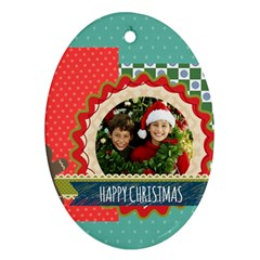 Merry Christmas By Merry Christmas   Oval Ornament (two Sides)   Yjblzdzr9gsk   Www Artscow Com Front