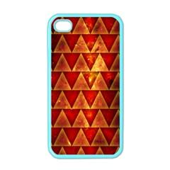 Orange Triangle Tiles Apple Iphone 4 Case (color)