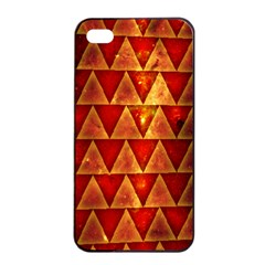 Orange Triangle Tiles Apple Iphone 4/4s Seamless Case (black)
