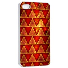 Orange Triangle Tiles Apple Iphone 4/4s Seamless Case (white)