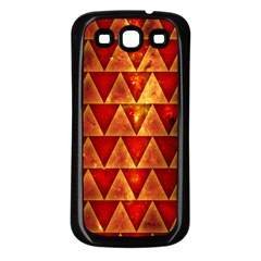 Orange Triangle Tiles Samsung Galaxy S3 Back Case (black)