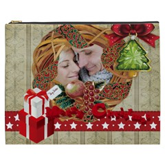 Merry Christmas By Debe Lee   Cosmetic Bag (xxxl)   Y3dyv8t7h3yt   Www Artscow Com Front