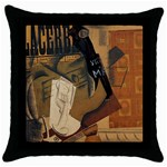 Pipe, Glass, Bottle of Vieux Marc Throw Pillow Case (Black)