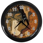 Pipe, Glass, Bottle of Vieux Marc Wall Clock (Black)