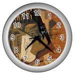 Pipe, Glass, Bottle of Vieux Marc Wall Clock (Silver)