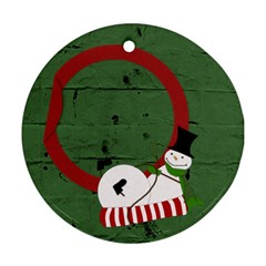 Sliding Snowman 2 Sides Ornament By Zornitza   Round Ornament (two Sides)   Zetturlnze94   Www Artscow Com Front