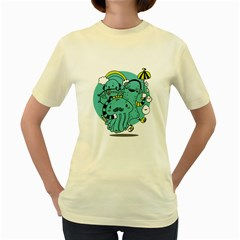 Monsters  Womens  T Shirt (yellow)