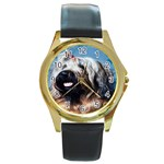 Briard Round Gold Metal Watch