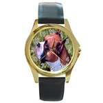 boxer Round Gold Metal Watch