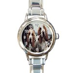 basset hounds two Round Italian Charm Watch