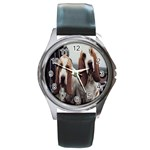 basset hounds two Round Metal Watch