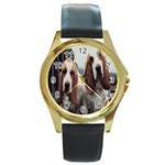 basset hounds two Round Gold Metal Watch