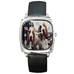basset hounds two Square Metal Watch