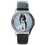 Basset hound puppy Round Metal Watch