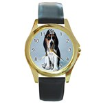 Basset hound puppy Round Gold Metal Watch