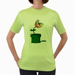 Piranha Plant Womens  T Shirt (green)