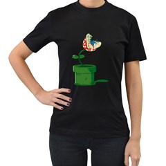 Piranha Plant Womens' T Shirt (black) by Contest1753604