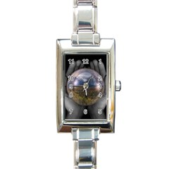 The World Is In Your Hands Rectangular Italian Charm Watch from ArtsNow.com Front