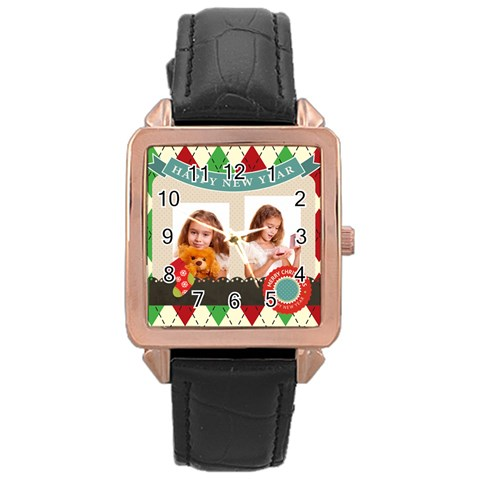 Xmas By Joely   Rose Gold Leather Watch    Kbsag58g6nj1   Www Artscow Com Front