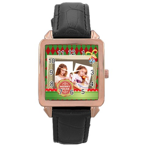 Xmas By Joely   Rose Gold Leather Watch    A8eh101uasm1   Www Artscow Com Front