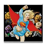 supergirl and the legend of super heroes Tile Coaster