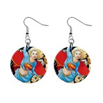 supergirl and the legend of super heroes 1  Button Earrings