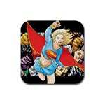 supergirl and the legend of super heroes Rubber Square Coaster (4 pack)